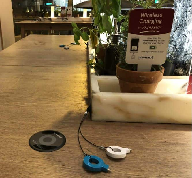 Wireless charging in restaurants